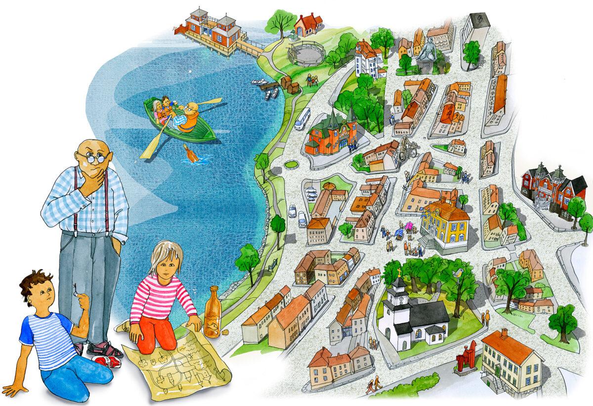 Karta för skattjakt och stadsvandring i Ulricehamn