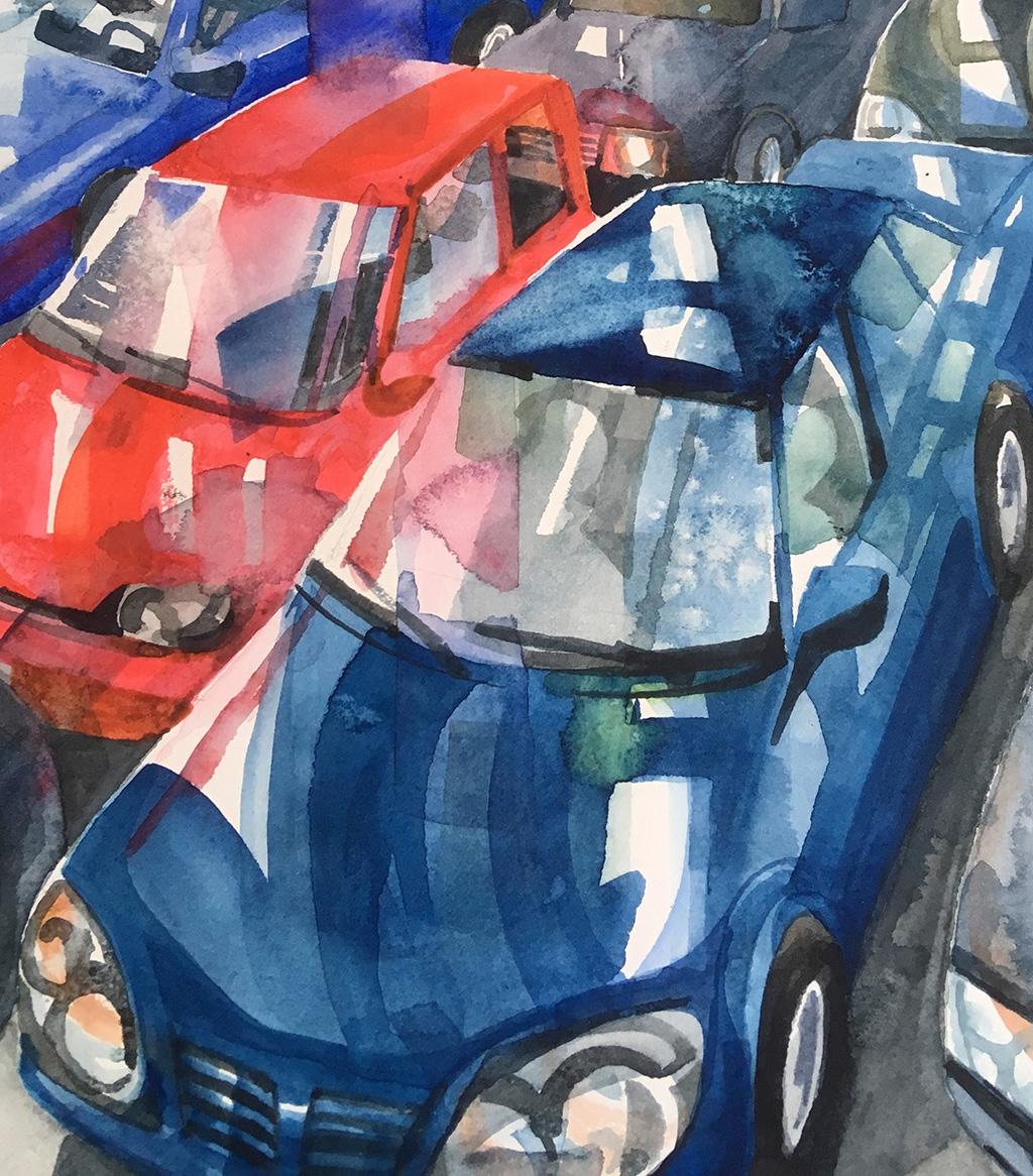 Bilar i tunnel, akvarellmålning för Konst på väg 2019, beskuren.