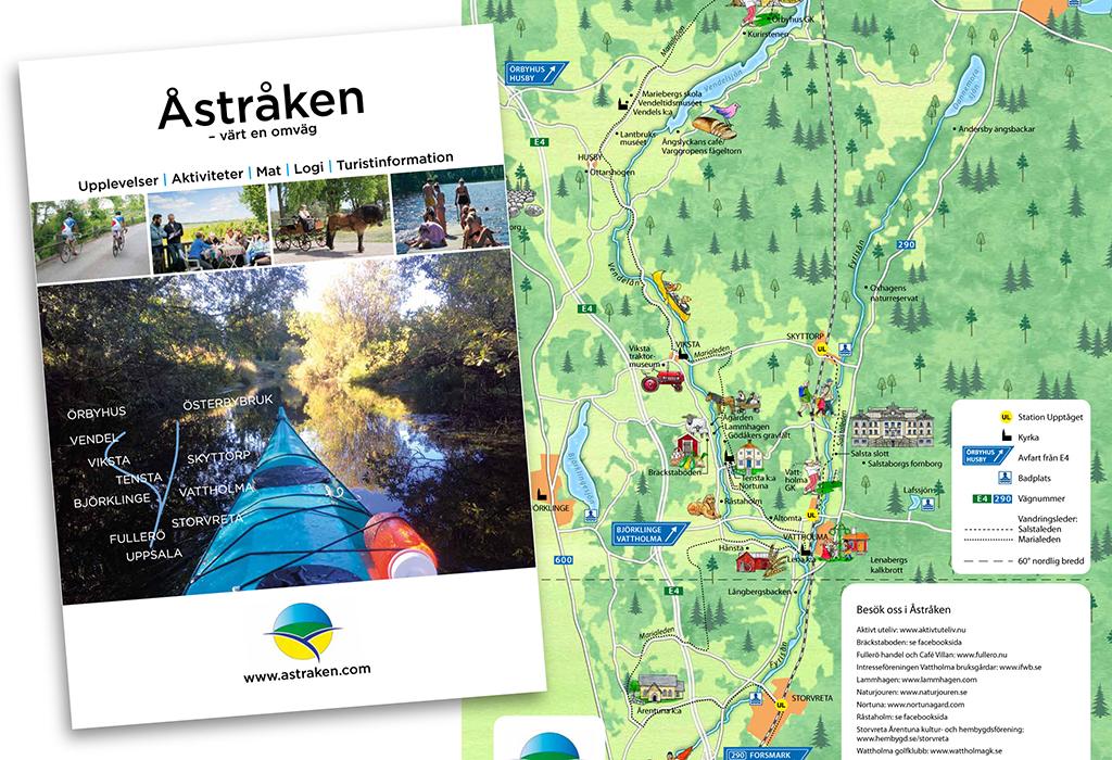 Broschyr för turistområdet Åstråken i Uppland.