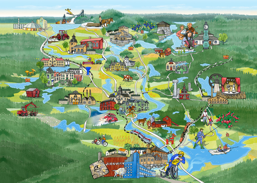 Karta över södra Dalarna.