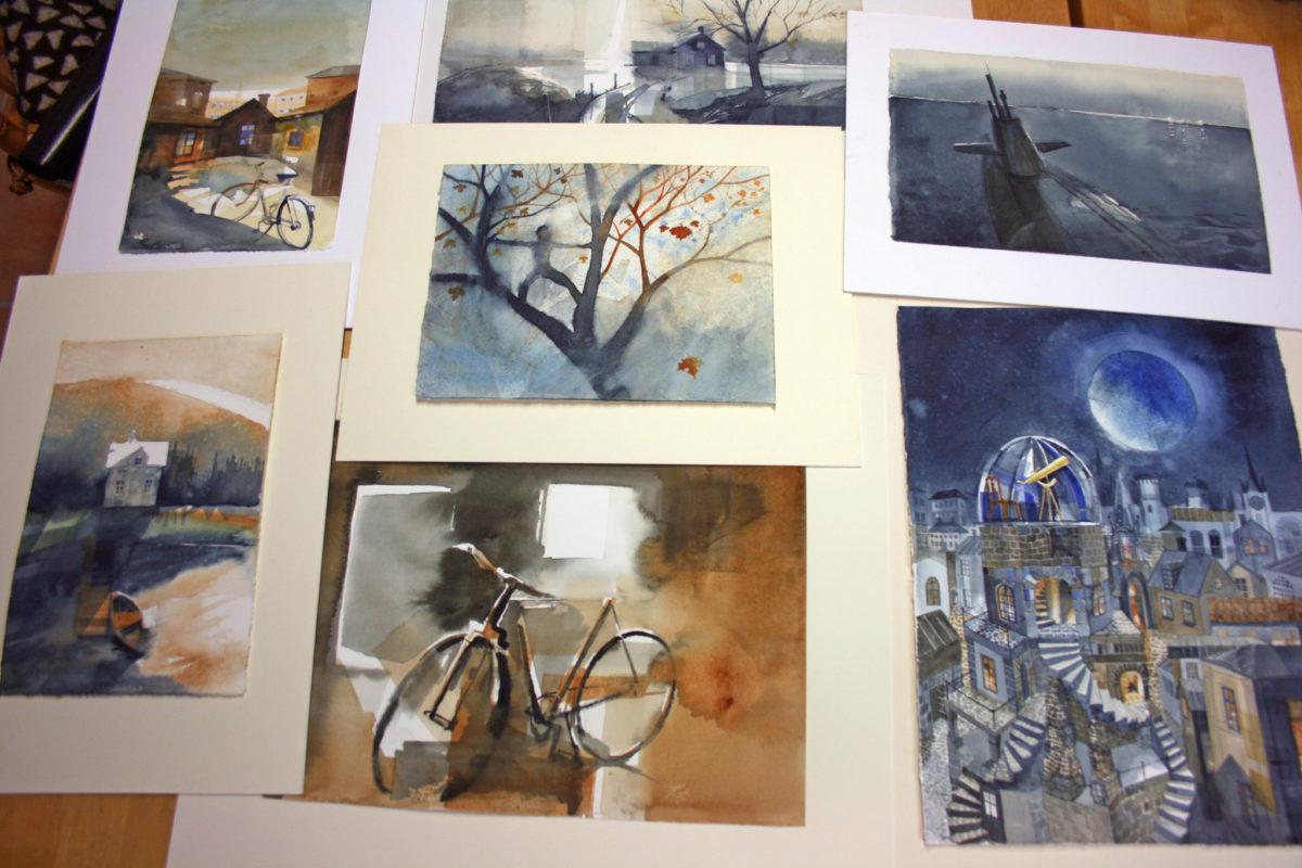 Ett urval akvareller för utställning Konst på väg.