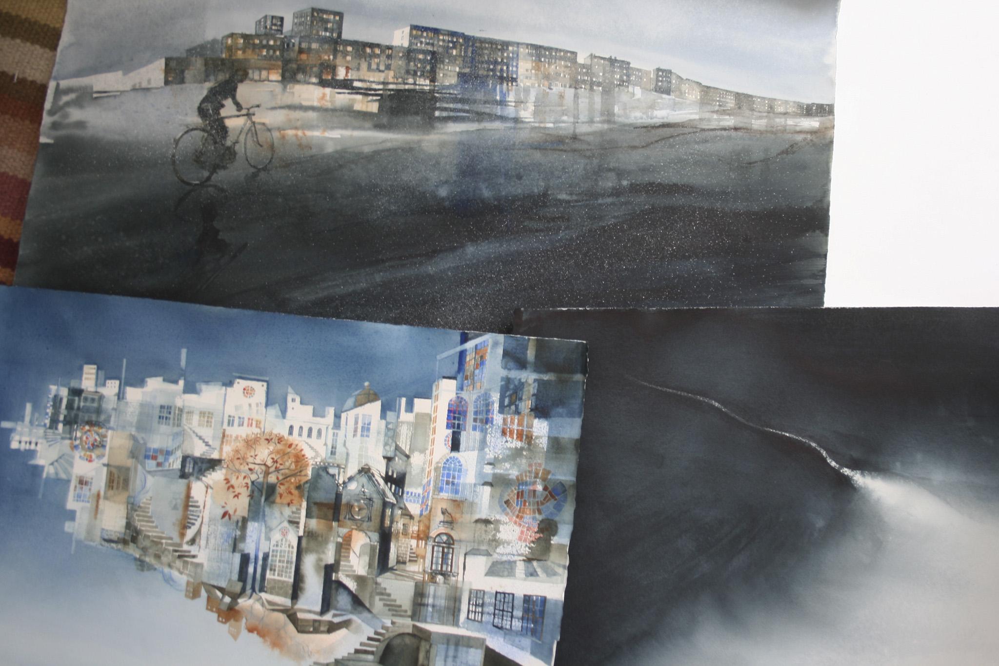 Collage av målningar för Konst på väg