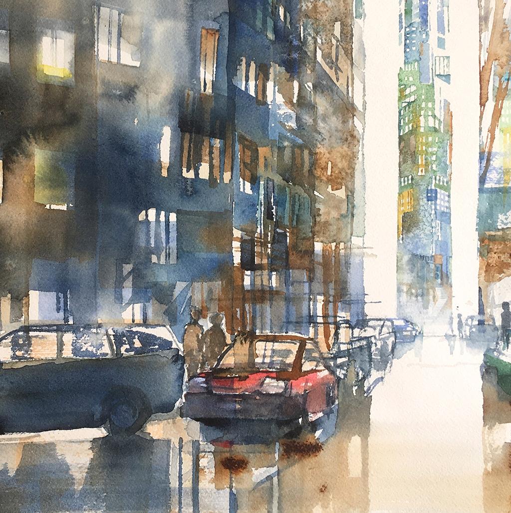 Detalj av akvarell stadsmiljö för Konst på väg 2019.